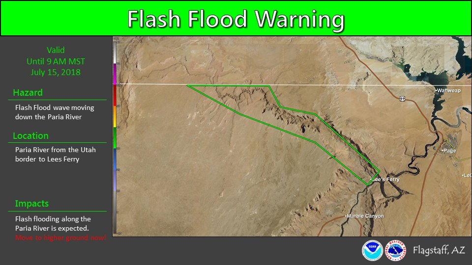 5am: The Flash Flood Warning for the Paria River in far northern Coconino County has been extended until 9 AM. #azwx