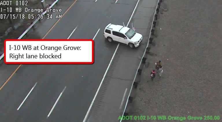 I-10 WB at Orange Grove: Right lane blocked. #Tucson