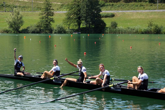 Smiles all around for the @RowingNZ 🇳🇿W8+ here at #WRCLucerne Photo