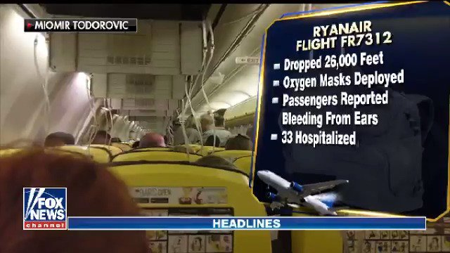 Dozens hurt after a Ryanair flight from Ireland to Croatia plunged 26,000 feet in just seven minutes https://t.co/H5rsjz9BBS