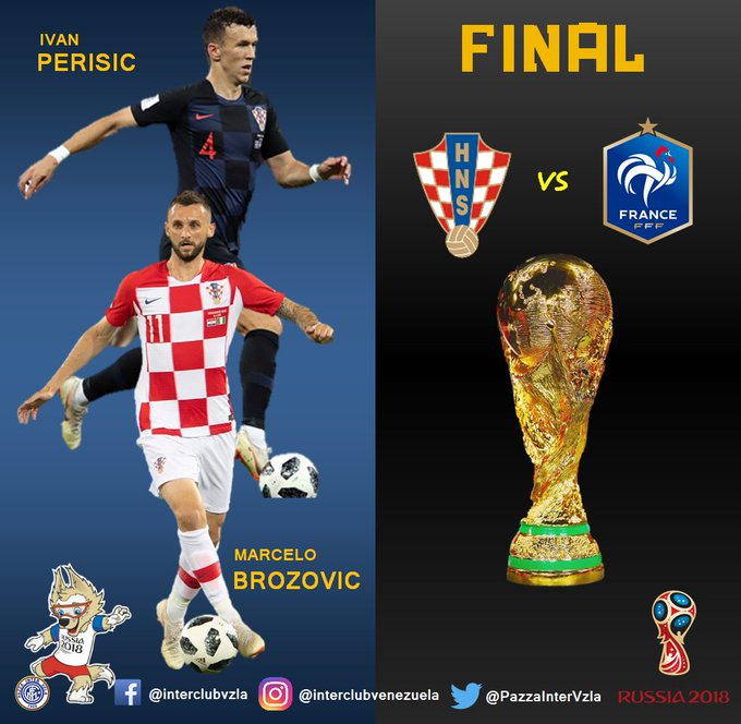 Se viene la Gran Final, los Nerazurris Marcelo Brozovic e Ivan Perisic por la Copa @fifaworldcup_es 💙🐍 Croacia 🇭🇷 🆚 Francia 🇫🇷 📅 Domingo 15 de Julio de 2018 🏟 Estadio Luzhniki ⏰ 10:00 Am (Hora de Venezuela) Photo
