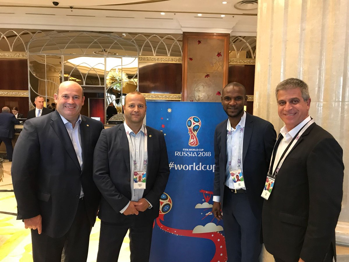 Vice president Jordi Mestre, director Xavier Vilajoana, CEO Òscar Grau and technical secretary Èric Abidal, in attendance at the #WorldCup final.