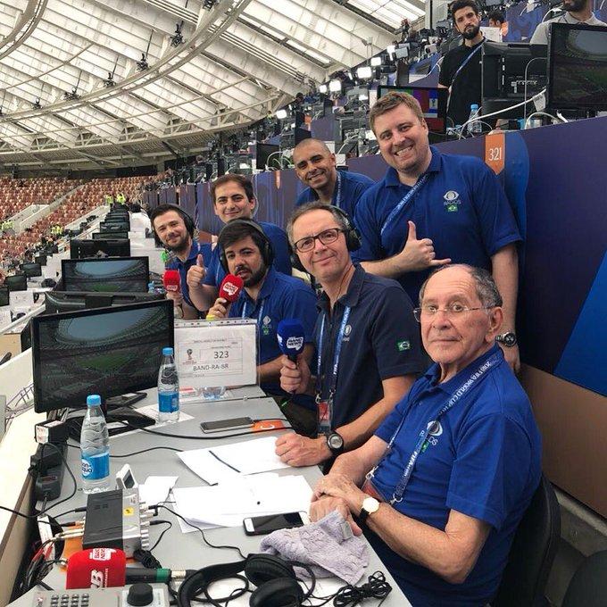 #Copa2018: Equipe Bandeirantes já posicionada no Estádio Luzhniki para trazer todas as emoções de França e Croácia! Fique ligado na @RBandeirantes com a melhor e mais premiada equipe esportiva do rádio brasileiro. Photo