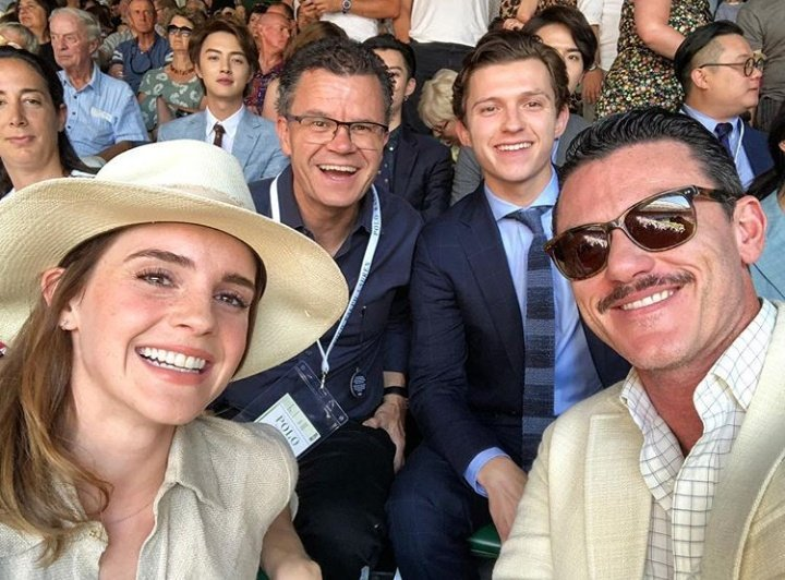 Tom Holland with Dom, Emma Watson and Luke Evans at Wimbledon in London.