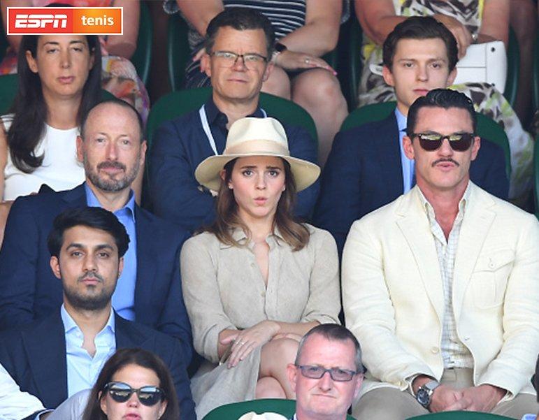 ¡Tom Holland, Emma Watson y Luke Evans están presentes en la final de #WIMBLEDONxESPN! EN VIVO ESPN / bit.ly/FinalWimbl