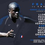 45 minutes until kick-off!Our French Blues, @nglkante and @_OlivierGiroud_ both start! 💪🇫🇷Good luck, boys! #WorldCupFinal