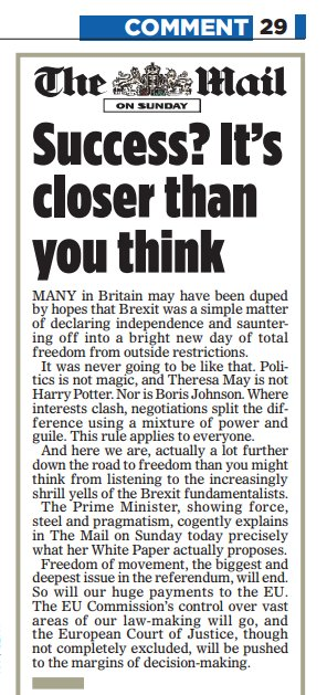 Significant: Mail on Sunday, editor Geordie Greig, who will edit Daily Mail from Nov, backs May's Brexit plan https://t.co/AaYTIHsf4k