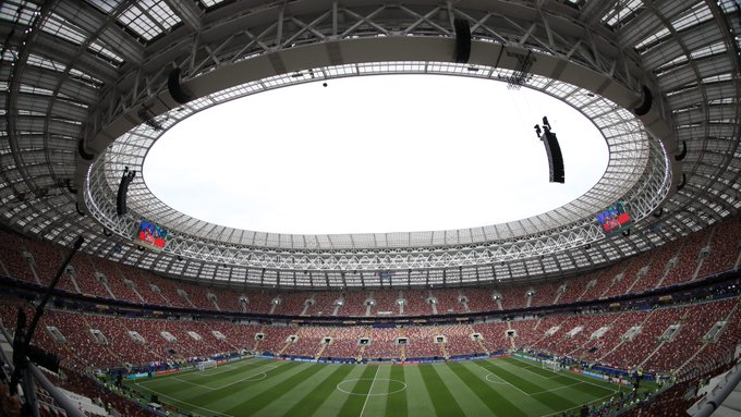 Spectators rush into Luzhniki stadium to attend the 2018 FIFA World Cup Final match between France and Croatia Photo