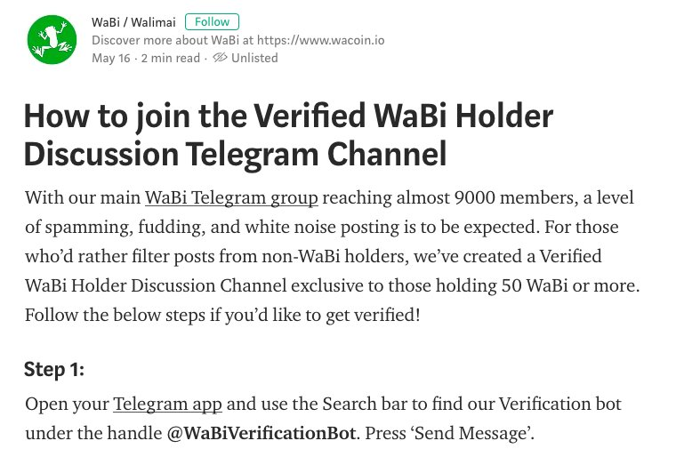 Wabi walimai on twitter on the 18th of july 8 to 9 pm singapore heres how to get verified httpsmediumwabiicohow to join the verified wabi holder discussion telegram channel de891073e6ab ccuart Gallery