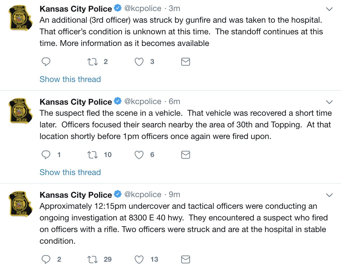DEVELOPING: Three officers shot in Kansas City, Missouri transported to area hospital, according to Kansas City Police. Two officers are in stable condition, one officer is in unknown condition. Police say they are in a standoff at this time. https://t.co/rb42JZkEgD