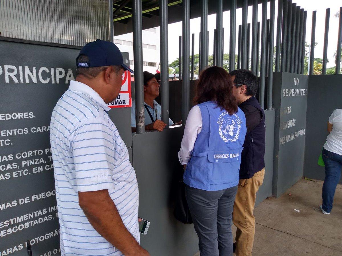 Integrantes del Meseni de @CIDH y @OACNUDH en Managua indagan en los juzgados de Managua sobre líder campesino Medardo Mairena (Cortesía).@laprensa