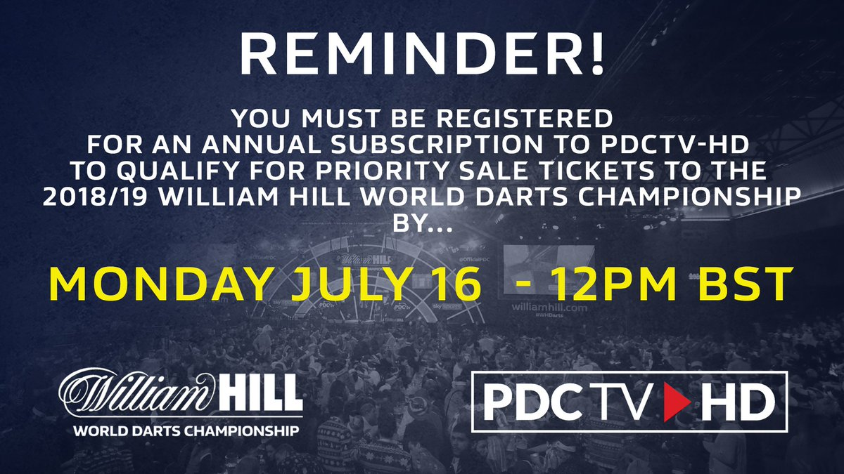 REMINDER | Last chance to become a PDCTV-HD Annual Subscriber to be eligible for the @WilliamHill World Darts Championship Priority Sale period. ▶️Subscribe before 12pm BST Monday via: pdc.tv/subscribe ▶️Full info: pdc.tv/william-hill-w…