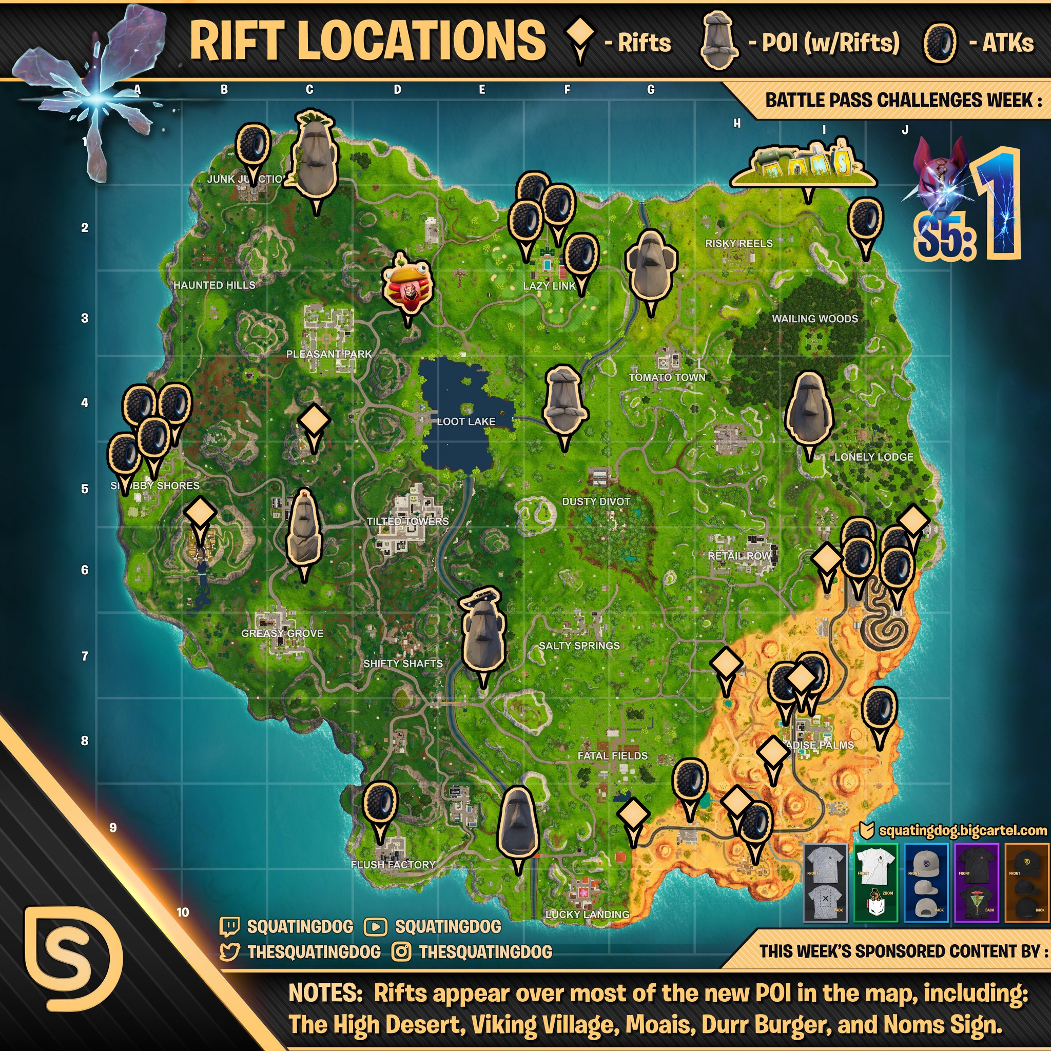 fortnite battle royale season 5 challenges week 1 - fortnite s8 week 6 cheat sheet