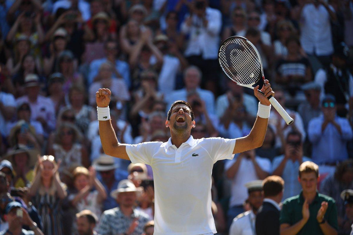 The @DjokerNole defeats @KAndersonATP 6-2 6-2 7-6(3) in the #Wimbledon final. The Serbian is back at the top of his game!/Novak Djokovic remporte un 4e titre à Wimbledon grâce à une victoire 6/2, 6/2, 7/6(3) sur Kevin Anderson en finale.©@corinnedubreuil / FFT  - FestivalFocus
