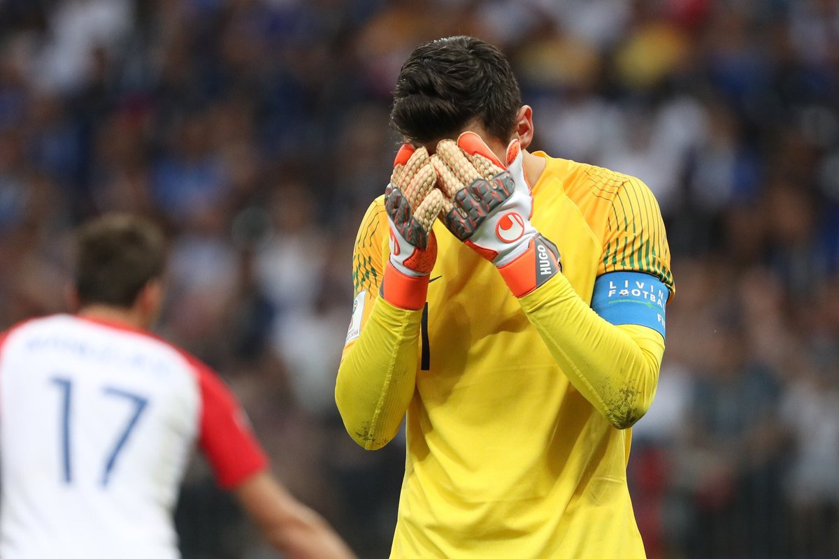 Spurs keeper Hugo Lloris doing his best to bottle the #WorldCupFinal