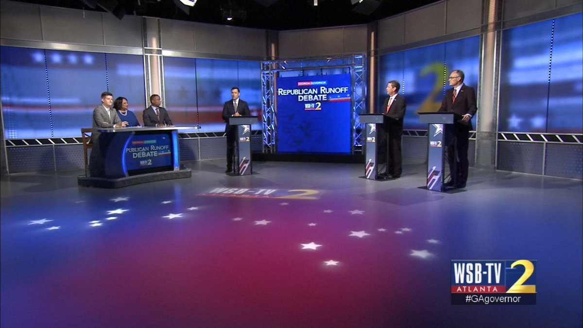 It's Kemp vs. Cagle in GOP #GAgovernor debate right now at Channel 2. WATCH LIVE: https://t.co/58jNB43EFN