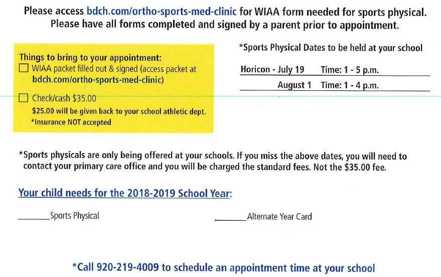 """sports physical form wiaa  Horicon School Dist. on Twitter: """"SPORTS PHYSICALS must be ..."""