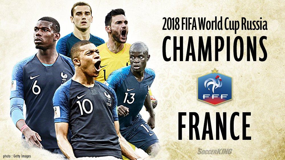 🇫🇷試合結果🇭🇷 フランスが20年ぶり2度目のW杯制覇! ポグバ&ムバッペが鮮やかゴール、計6発の打ち合い制す  🔻記事はこちら https://t.co/v8Ns0MEiBm  🗣️編集部より 「ロシアW杯決勝で #フランス代表 と #クロアチア代表 が対戦しました」#WorldCupFinal #FRA #CRO