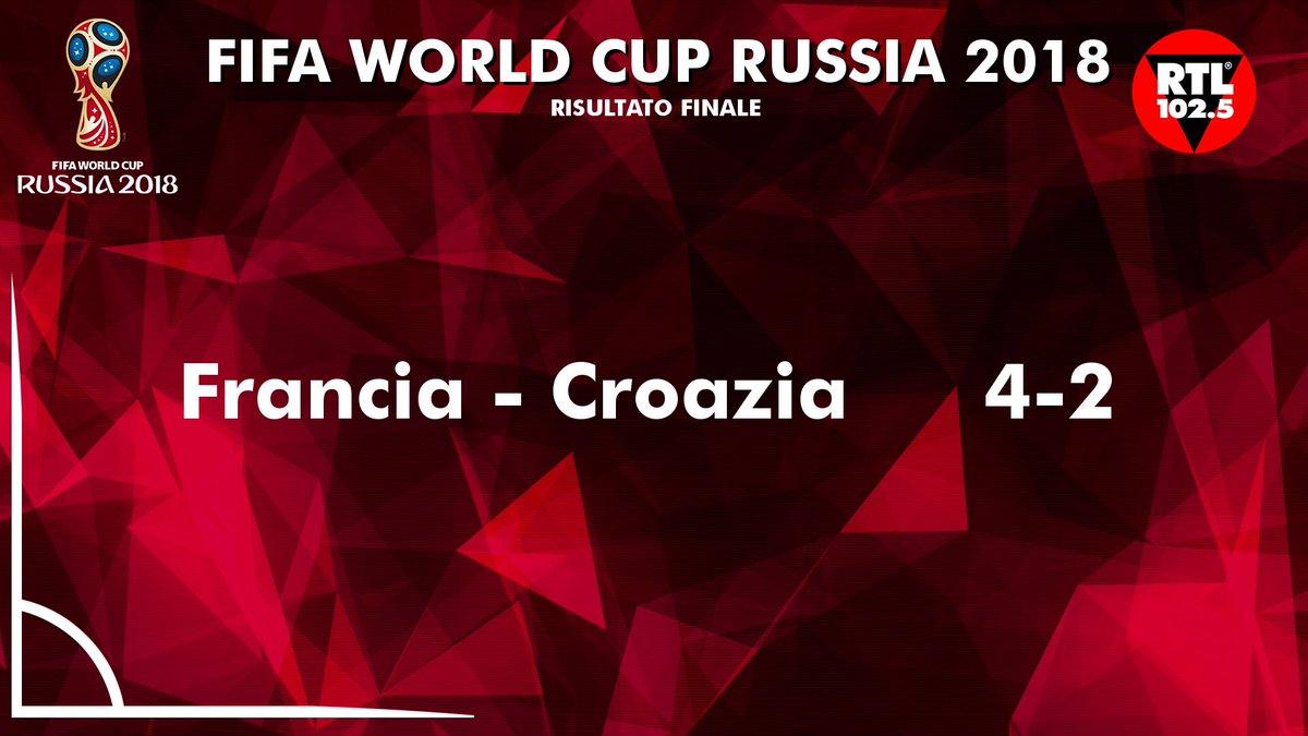 Francia 🇫🇷 - Croazia 🇭🇷 4-2 La Francia è Campione del Mondo per la seconda volta nella sua storia  🏆  In quanti sono felici di questo risultato? 😅  #FranciaCroazia