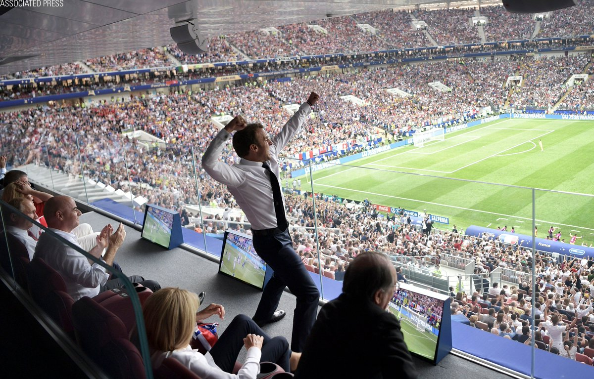 French President @EmmanuelMacron reacts during the final match between #France and Croatia at the 2018 soccer #WorldCup in the Luzhniki Stadium in Moscow, Russia.