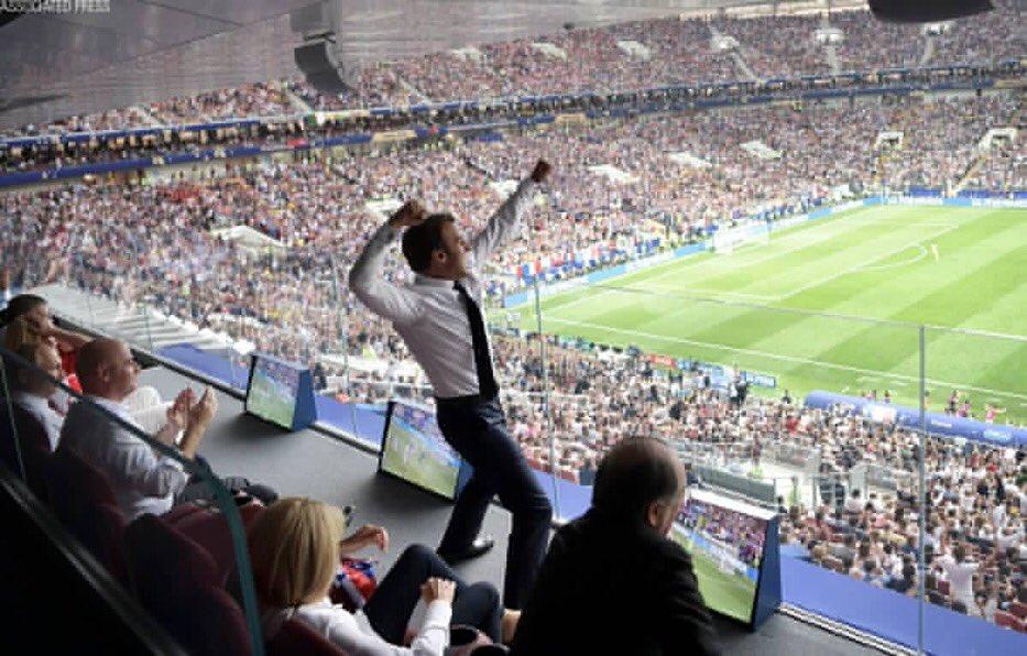 Emmanuel Macron breaking every protocol! #FRA #WorldCupFinal