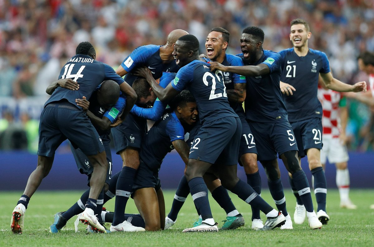 France just won the #WorldCup   19 of its team's 23 players are immigrants or the children of immigrants  ✊🏻✊🏼✊🏽✊🏾✊🏿