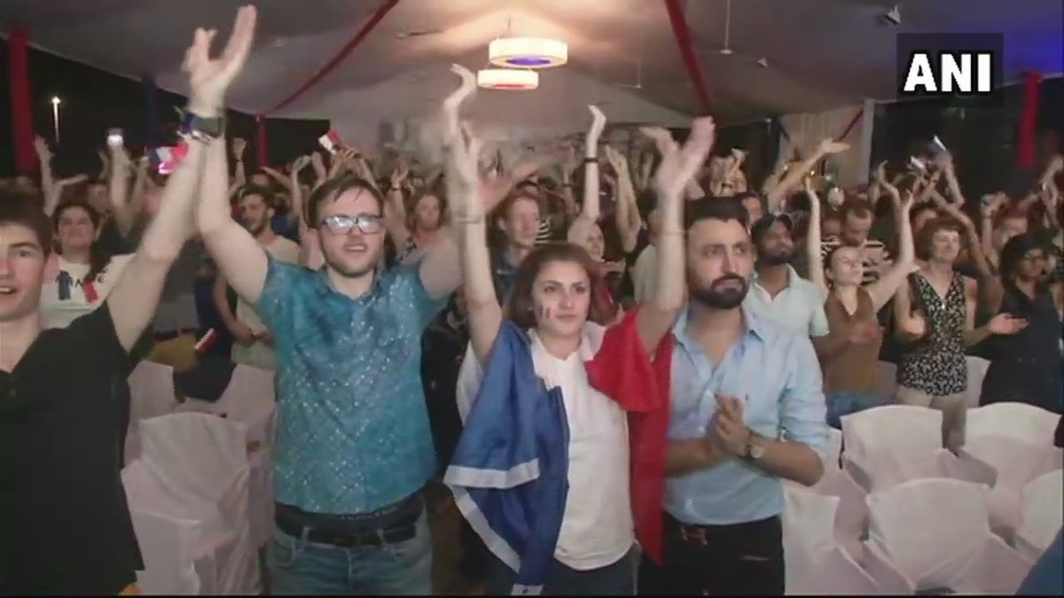 Delhi: Celebrations at French Embassy after France 🇫🇷 beat Croatia 🇭🇷 4-2 to win the #FIFAWorldCup2018. Fans say,'After 20 years France has won the title, it is indeed a proud and happy moment.'