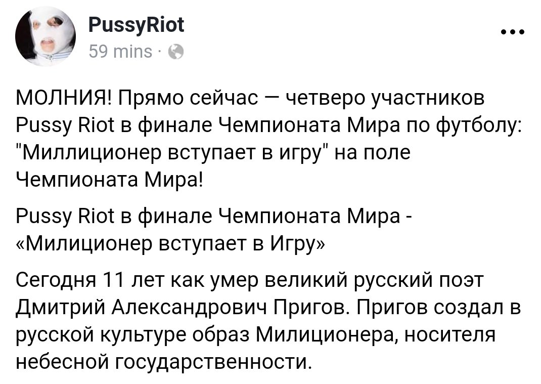 Russian feminist opposition group Pussy Riot says it was behind the pitch invasion at World Cup final.