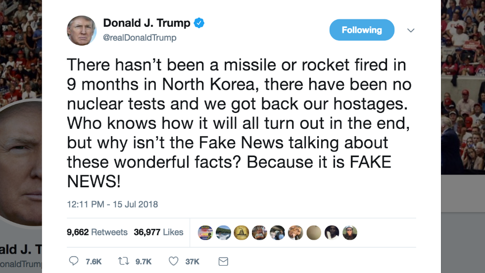 Trump asks why 'fake news' isn't covering North Korea as he travels to Helsinki for meeting with Putin https://t.co/Jw7N48zdmU