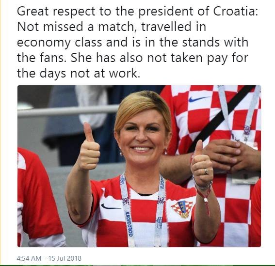 Unlucky Croatia. Great game.  And I LOVE your president !!! She&#39;s hugging everyone ! You and Nicola S. CLASS !! <br>http://pic.twitter.com/udDFnm8XTk