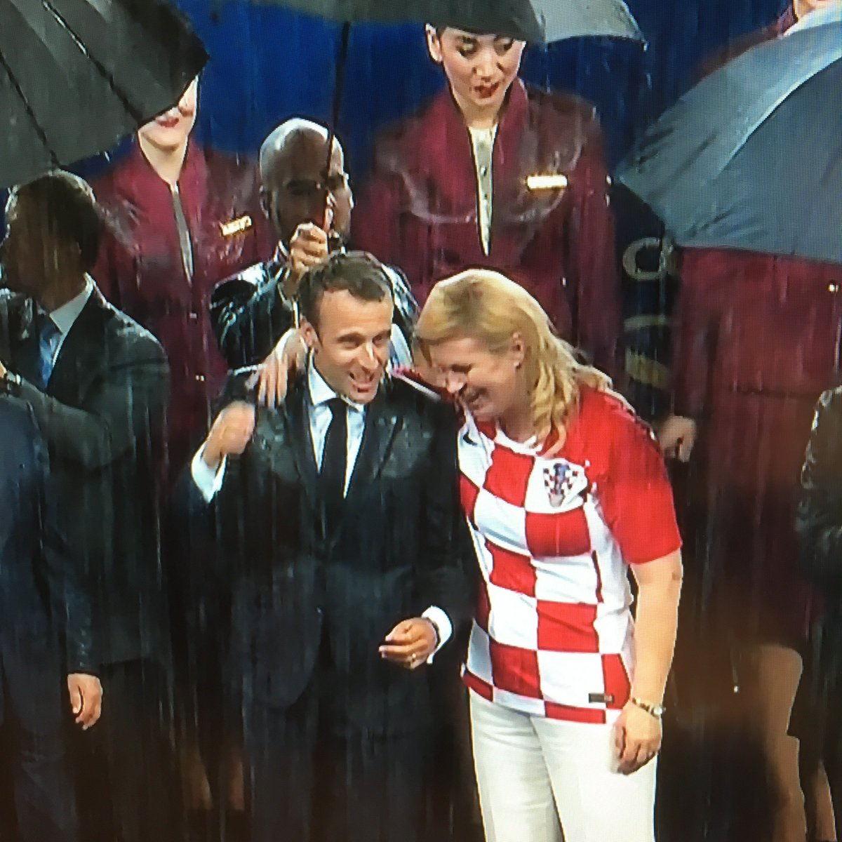 Mary Novakovich On Twitter Love This Emmanuel Macron And Kolinda Grabar Kitarovic Celebrating Their Respective Countries Football Teams In The Pouring Rain Crofra Worldcup Https T Co Kupkyb8qrr