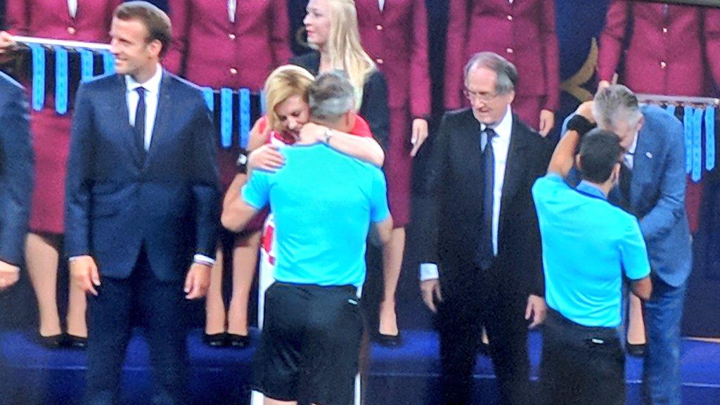 #FranciaCroazia The president of Croatia is so cool  #WorldCupFinal  Vamos Croacia <br>http://pic.twitter.com/uVfn5V79S9