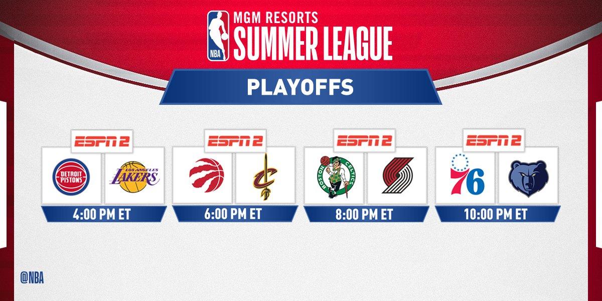 Today's @MGMResortsIntl @NBASummerLeague Quarterfinals action tips off at 4pm/et on ESPN2! https://t.co/ycdCMP4fDb