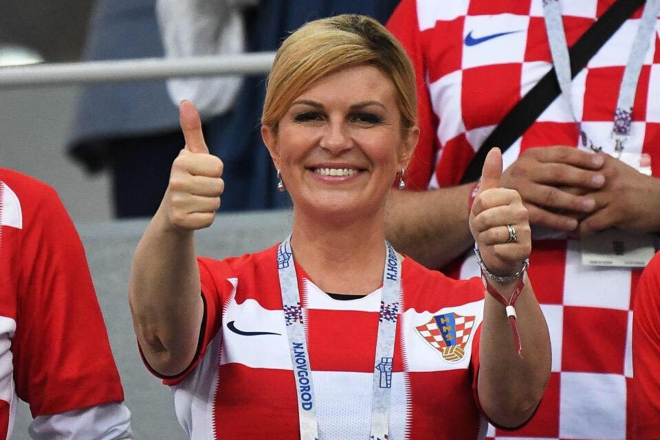 Kolinda Grabar-Kitarovic President of Croatia 😍💝 She flew economy. She watched the games with regular people in a non-VIP stand. And she showed absolute grace congratulating France. That is real leadership, folks