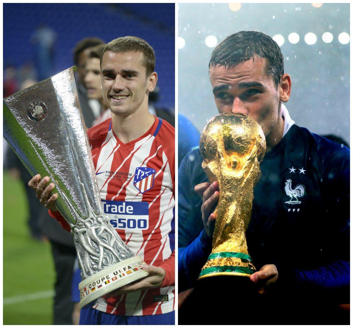 🏆 16 maggio 2018: trionfo in @EuropaLeague 👏👏👏 🏆 15 luglio 2018: trionfo alla #WorldCup 👏👏👏  Un anno indimenticabile per @AntoGriezmann...