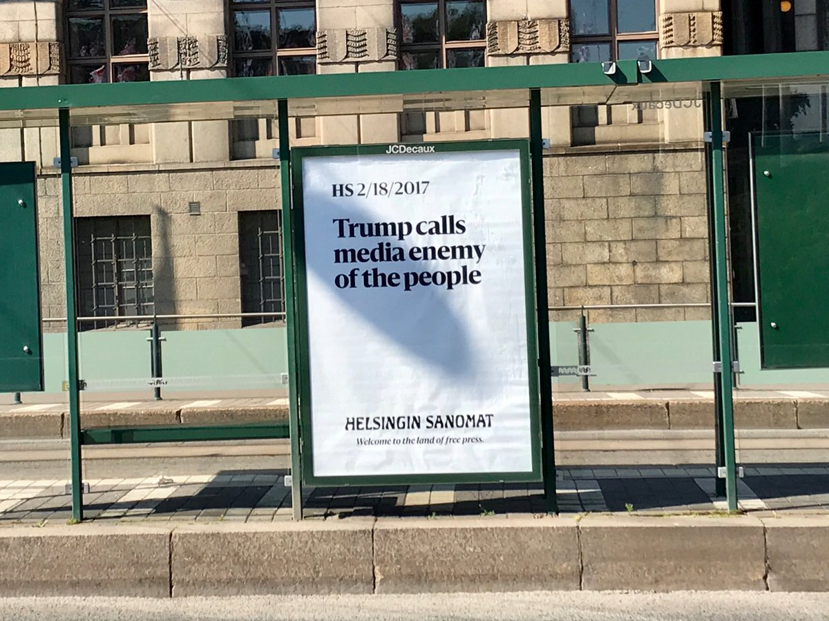 """Welcome to the land of Free Press,"" says a local ad welcoming ⁦@POTUS⁩ to Helsinki"
