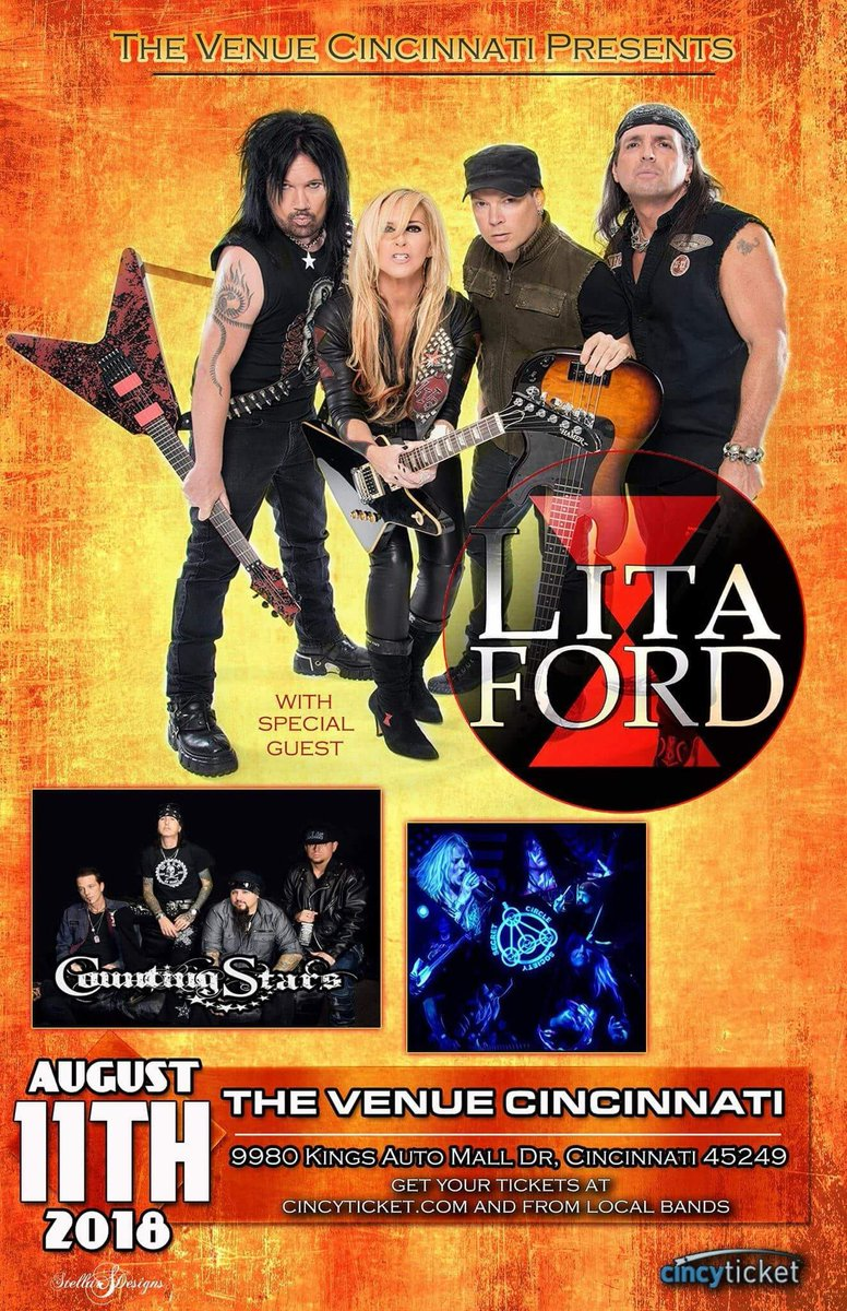 Cincinnati, OH! New show just added. Aug 11 at @VenueCincy! INFO / TIX: facebook.com/events/5532818… Visit LitaFordOnline.com for more tour dates!