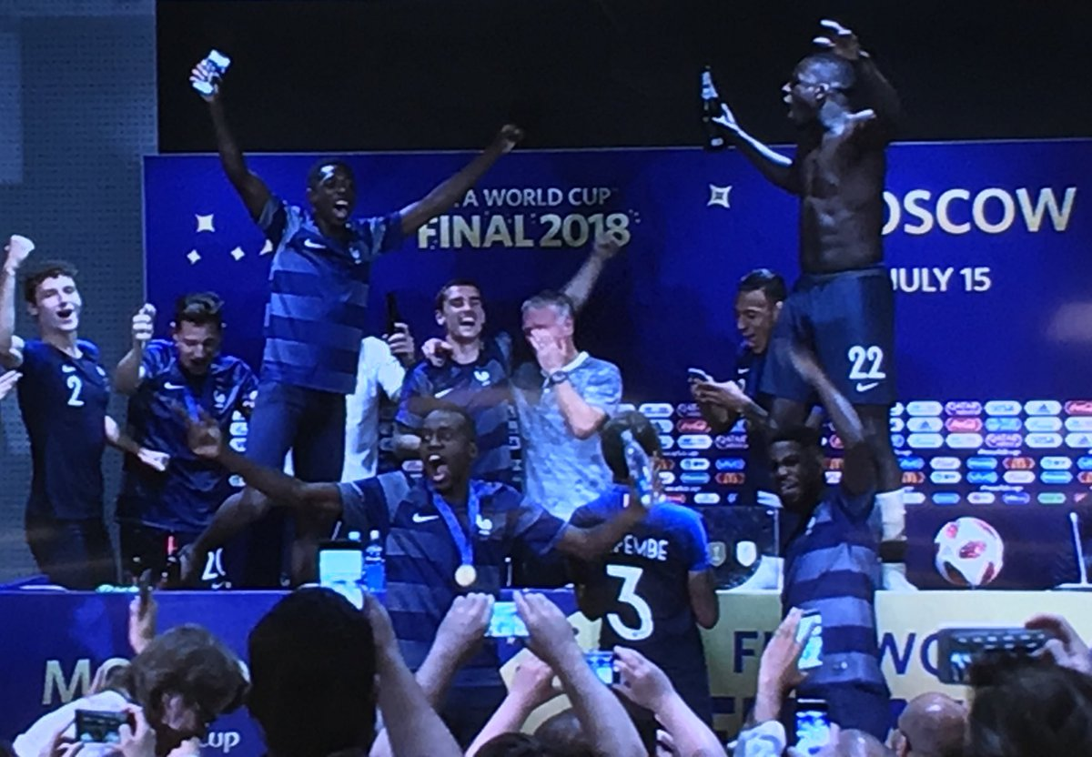 French players invade Deschamps #worldcup press conference, dousing the media in water and dancing on the tables.
