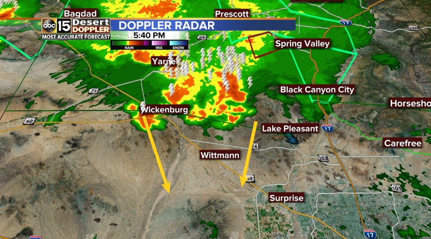 Storms dropping in just west of #LakePleasant. Watch for gusty winds and heavy rain! #AZwx #ABC15wx #Monsoon2018<br>http://pic.twitter.com/QSDVolnA6B