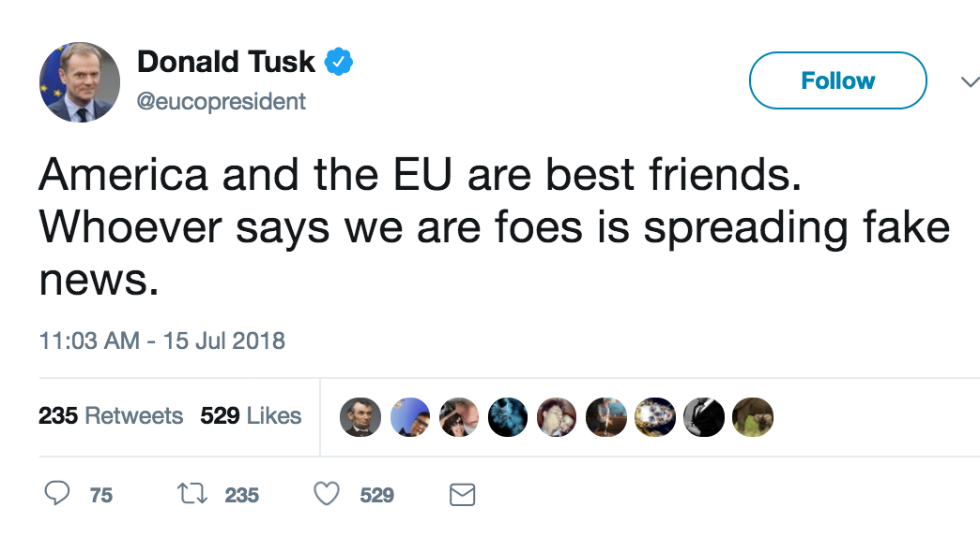 EU chief fires back at Trump: Anyone who says US and EU are enemies is 'spreading fake news' https://t.co/1c6kztLxPr