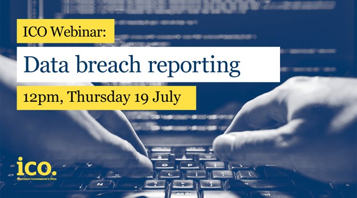 On Thursday 19 July at 12pm, we will be hosting a webinar on Data Breach Reporting. It's aimed at Data Controllers and will give advice and guidance on how and when to report security breaches to the ICO. More information here:  https:// ico.org.uk/about-the-ico/ news-and-events/events-and-webinars/data-breach-reporting-webinar/ &nbsp; …  #englandhour<br>http://pic.twitter.com/FvVme3M6Bz