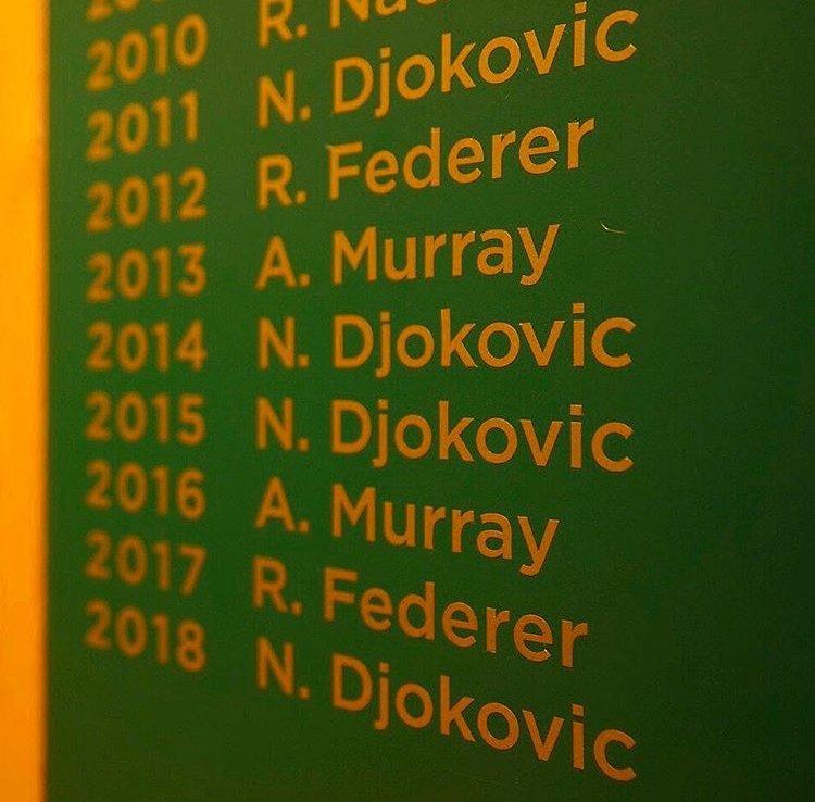 Tenistas (activos) con más títulos de GS: 20 Roger Federer (🇨🇭) 17 Rafael Nadal (🇪🇸) 13 Novak Djokovic (🇷🇸) 3 Stan Wawrinka (🇨🇭) 3 Andy Murray (🇬🇧) 1 Marin Cilic (🇭🇷) 1 Juan Martín del Potro (🇦🇷) (📸: ESPN Tenis)