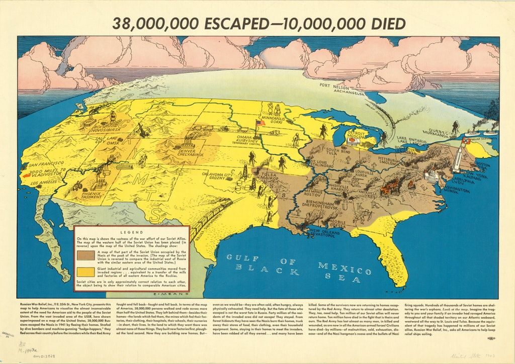This is one hell of a scary overlay #map. It was published in 1943 and shows the Nazi occupied USSR on top of the USA. Makes the dark #history of #WWII feel closer. Source:  https:// buff.ly/2mjG0dr  &nbsp;   <br>http://pic.twitter.com/0c4aLOU9Nr