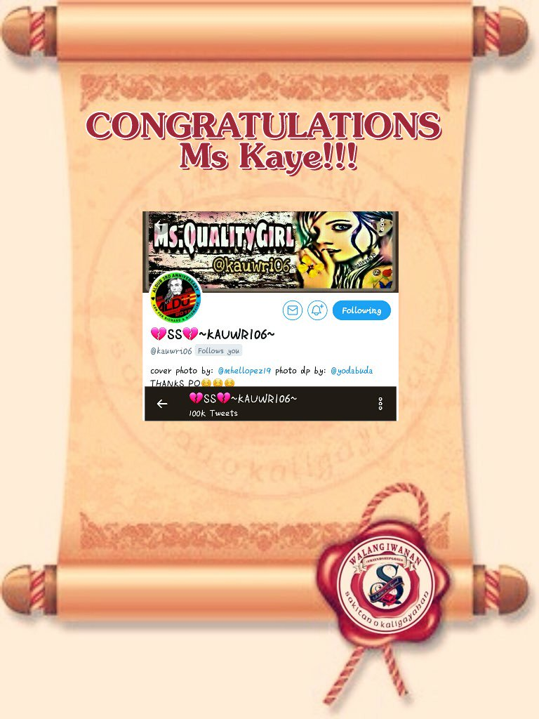 CONGRATULATIONS Ms Kaye Were having a double celebration  @chie_chie26  @mhellopez19  @aizzgiant  @twilightbliss93  @destiny041772  @fejosede2  @cobiekyle15  @BiveMarivic  @huquotes0608  @sniper0729  @lovers_feelings  @KesongMacho  @AmadgetA   #ALDUB3Years<br>http://pic.twitter.com/rAp3g7lASi
