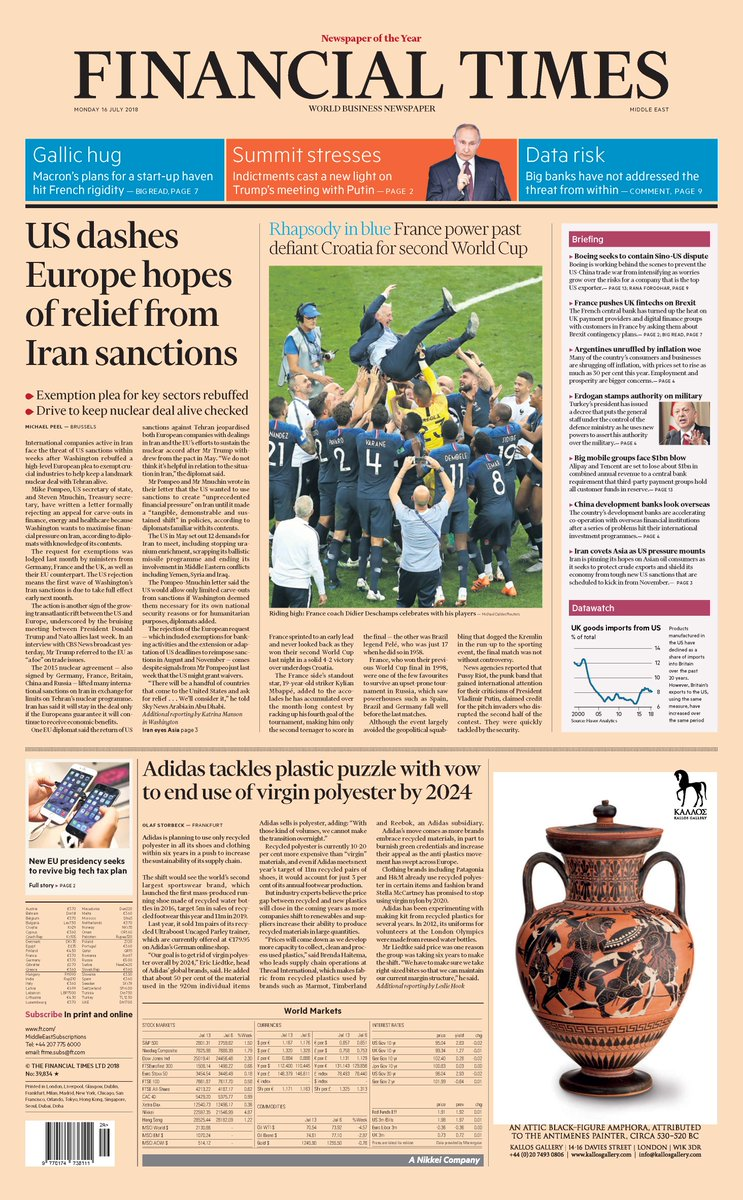 Just published: front page of the Financial Times, international edition, Monday 16 July   https:// on.ft.com/2zH9JGG  &nbsp;  <br>http://pic.twitter.com/msXfqQ1eMq