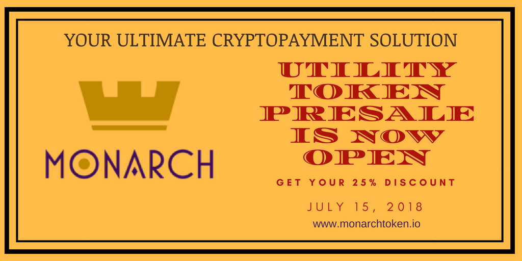 MONARCH PRESALE IS NOW LIVE! 25% Discount!  Buy Now at  http://www. monarchtoken.io  &nbsp;    and find us on Telegram  https:// t.me/MonarchToken  &nbsp;    so you don&#39;t miss it!  #cryptocurrency #blockchain #bounty #airdrop #bitcoin #TGE #ethereum #paymentgateway #fintech #technology #decentralized<br>http://pic.twitter.com/Z0R9A6fULv