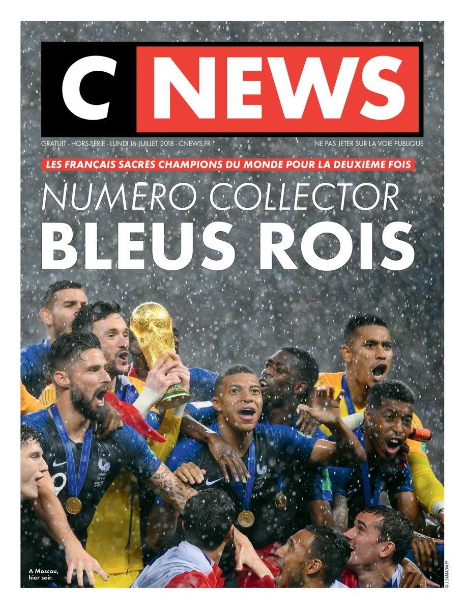 Revivez la victoire des Bleus avec #CNEWS dans un hors-série spécial #CM2018 de 24 pages à paraître ce lundi 16 juillet. #FRACRO #FiersdetreBleus