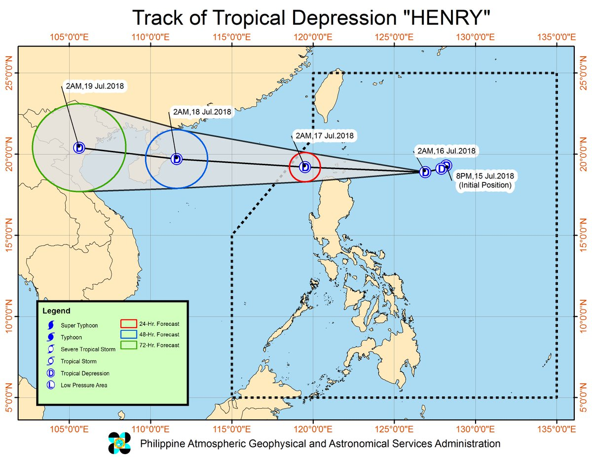 Tropical depression '#HenryPH' has maintained its strength as it moves towards the general direction of Extreme Northern Luzon.  https://t.co/HEIALQFrMl