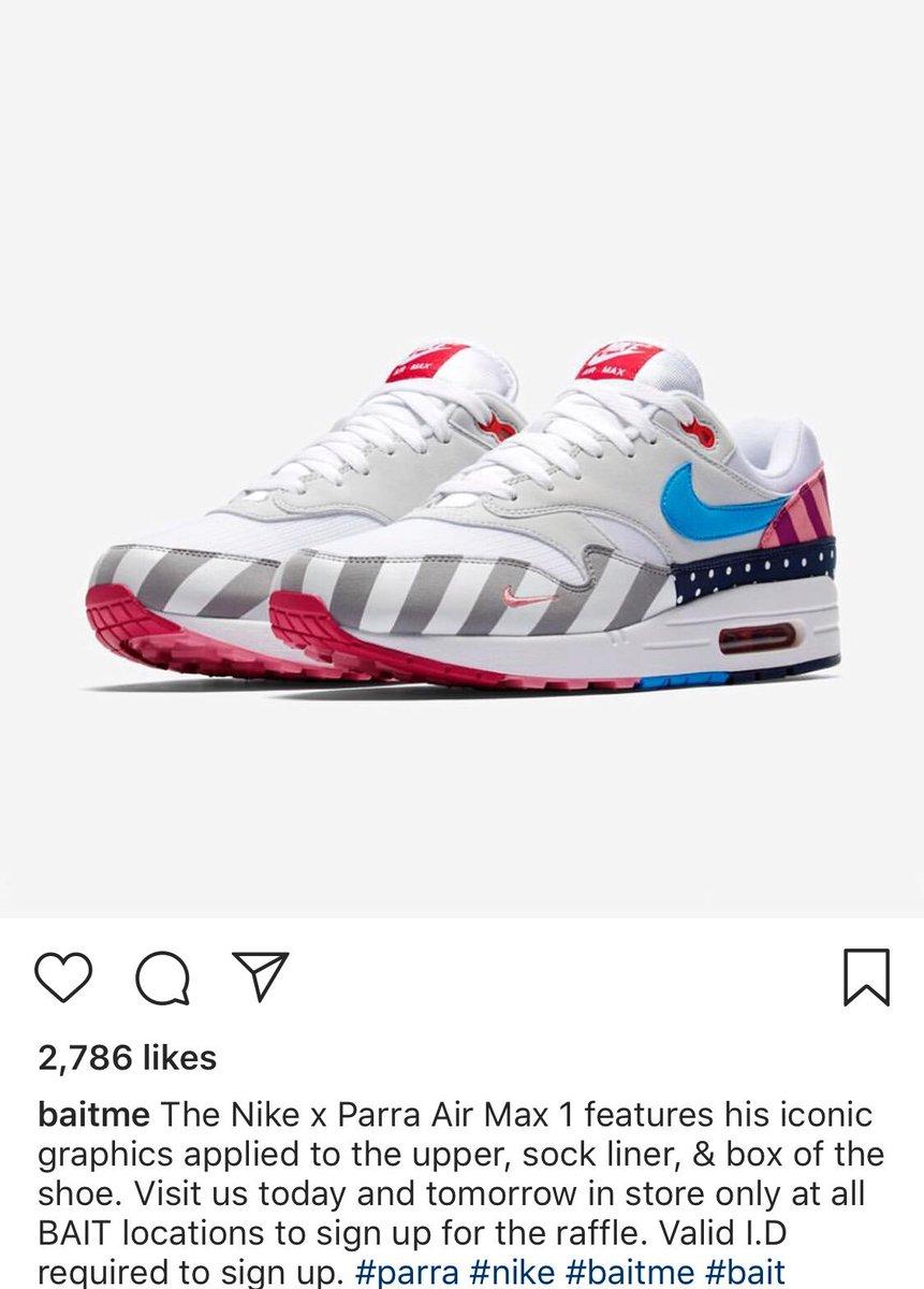 45425af95c49b8 Nike Air Max 1 x Parra raffle info via Baitme   snkr twitrpic.twitter.com KpxOEgkxAC. 2 43 PM - 15 Jul 2018