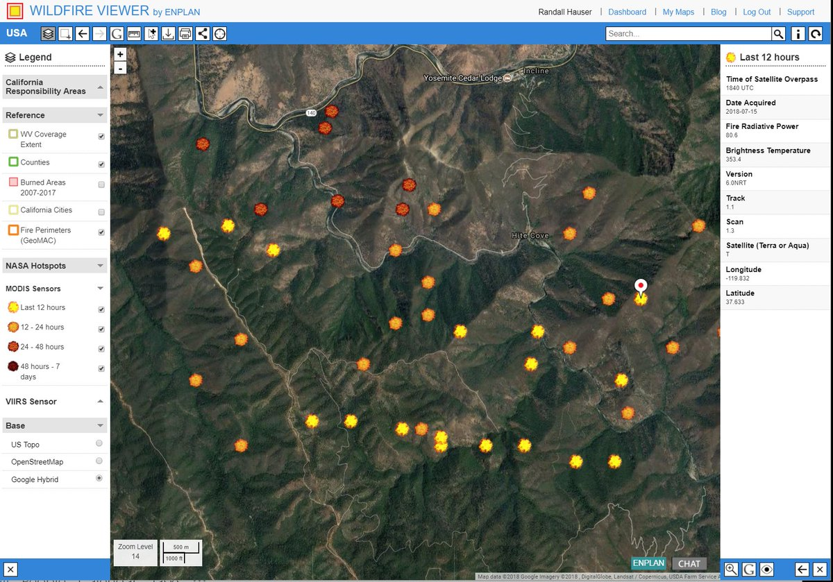 Track the #fergusonfire live. NASA VIIRS and MODIS hotspot detections feed continuously to the map. See progression path. Developed by the ENPLAN geospatial team for professionals. Free access now for 2 hours from time of this posting:  http:// tinyurl.com/ybk26h2p  &nbsp;  <br>http://pic.twitter.com/m4fIbDvKNI